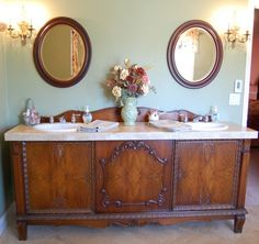 Antique Sideboard Buffet turned into Double Sink Vanity. In order to get the space needed to have a double sink vanity we may have to look for a sideboard rather than a dresser. Antique Sideboard, Sideboard Buffet, Antique Buffet, Antique Dressers, Vintage Buffet, Vintage Cabinet, Antique Vanity, Vintage Vanity, Vintage Decor