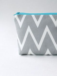 Chevron Cosmetic Bag Gray and Aqua Small Make Up