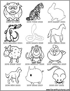 Chinese New Year Activities Chinese zodiac animals coloring page