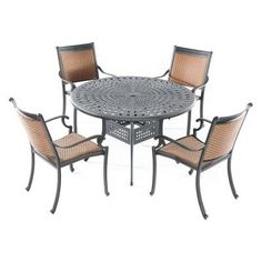 "Alfresco Home Pilot All Weather Wicker 4-Seat Dining Set by Alfresco Home. $1999.00. Table: 48"" L x 48"" W x 29"" H; Chairs: 24.5"" L x 26.5"" W x 37"" H. Resin Wicker Chairs are built for comfort, no cushions needed. High Quality Powder coated frame. Cast Aluminum Dining Set 48 inch Round Cobblestone Table and Four Pilot Stackable Wicker Arm Chairs, Table includes an umbrella hole. 100% Cast Aluminum, No Rusting to Worry About, Chairs are fully assembled and stack for easy sto..."
