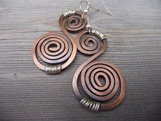 Metal Jewelry Earrings, Copper Dangle Earrings, Wire Wrapped Jewelry Handmade, Spiral Earrings, Wire Jewelry, Hammered Earrings Etsy Womens by fancyyoudesigns on Etsy https://www.etsy.com/listing/262519801/metal-jewelry-earrings-copper-dangle