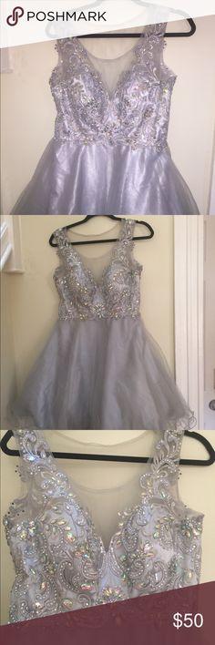 Silver semi formal dress Large silver sweet 16 dress Dresses Prom
