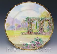 "$295 LIMOGES HAND PAINTED ""ITALIAN GARDEN"" PICKARD'S ARTIST SIGNED RHODES 11"" CHARGER"