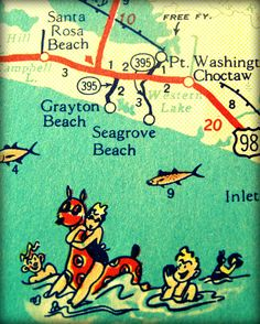 Beach House Art  vintage 30A map 11x14 photo Seagrove Grayton FLORIDA print red aqua vacation travel  Seaside picture nostalgia