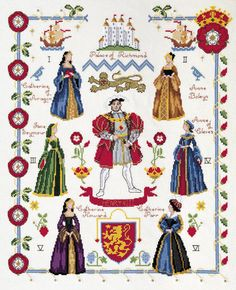 """DMC Henry VIII Palace of Richmond Counted Cross Stitch Kit K3404 DMC Henry VIII Cross Stitch Kits designed by Karen Britten - show Henry Tudor and his 6 wives DMC Henry VIII Cross Stitch Kit contains: 16 Count Antique White Aida DMC Cotton Threads Chart and Instructions Needle Cross Stitch Finished Size: 35.5 x 43 cm (14"""" x 16¾"""")"""
