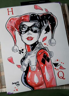 "Harley Quinn Art Watercolor Painting 11""x14"" by JorgeCz 2016"