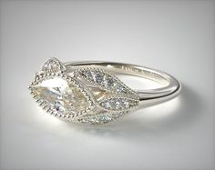 58570 engagement rings, vintage, 14k white gold beaded marquise shape engagment ring item - Mobile