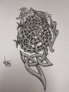 Celtic dragon by shepush on DeviantArt Celtic Dragon Tattoos, Viking Tattoos, Word Tattoos, Body Art Tattoos, Optical Illusion Tattoo, Vikings, Scale Tattoo, Irish Tattoos, Norse Tattoo