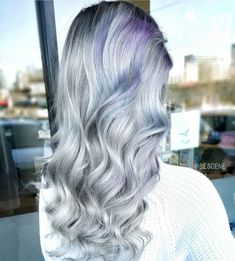 💙 Silver blonde with touches of pastels 💜 by @bescene #hotonbeauty