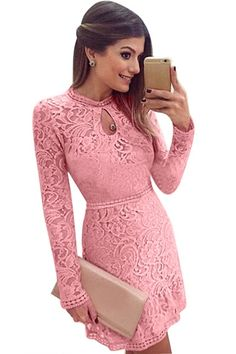 2017 Autumn Fashion Casual Womens Sexy Dresses Party Night Club Dress Fall Long  Sleeve Pink Lace 47d7b14df