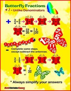Butterfly Fraction: Adding  Subtracting Fractions {Poster and Cards}  http://www.teacherspayteachers.com/Product/Butterfly-Fraction-Adding-Subtracting-Fractions-Poster-and-Cards-1218495