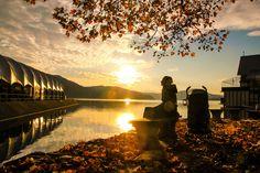 Sunset in autumn at lake Wörthersee. Klagenfurt, Autumn, Sunset, Places, Travel, Life, Beautiful, Voyage, Fall