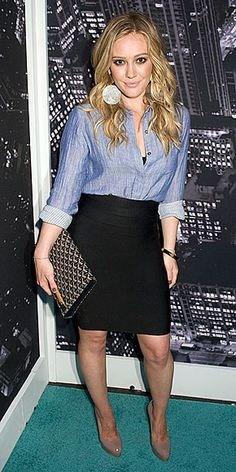 Black pencil skirt that goes right to the knee, a simple blue blouse with a cute pair of nude shoes! If you don't like heels, you can swap them out with flats!