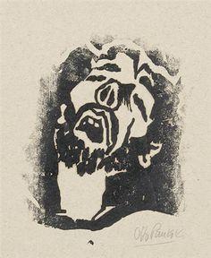 Otto Pankok (1893-1966), Christuskopf, 1936, woodcut