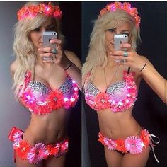 (BRA + BELTONLY)( Any  flower crown available for purchase separate) Handmade, Bra Outfit you can wear to any music festival event, rave, etc..I purchase all bras completely new, they c...