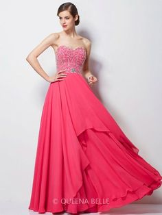 A-Line/Princess Sweetheart Sleeveless Chiffon Beading Floor-Length Dresses