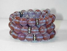 Vintage Early 1960s Sappharine Saphiret Glass Beads Aurora Borealis RS Bracelet