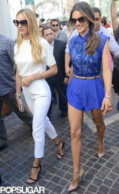 Trendy VS Angels Candice Swanepoel and Alessandra Ambrosio did press for Victoria Secret's new swim line. Get all the details and photos here!