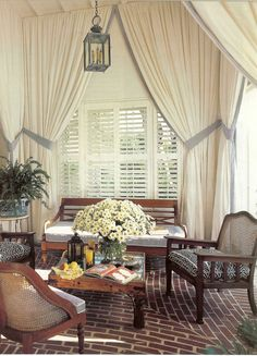 Pink And White Sunroom