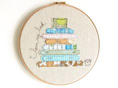 "Embroidery Hoop Art 'I love my bed' Textile Art by ThreeRedApples, £30.00 - As seen in Homespun's November 2013 ""Best of the best from Pinterest"" column"