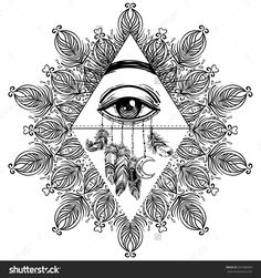 All seeing eye in ornate round mandala pattern. Mystic, alchemy, occult concept. Design for cover, t-shirt, poster, flyer. Meditation, aura and chakras. Coloring book pages for adults.