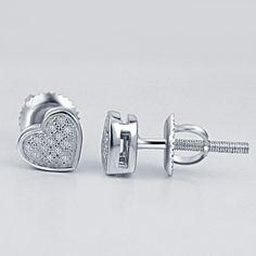 Women's 14K White Gold Fn .925 Heart Stud 0.10 CT Natural White Diamond Earrings #Silvergemsjewelry #StudEarrings