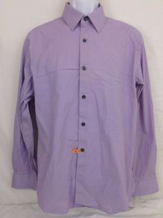 Express 1MX Mauve Long Sleeve Fitted Large 16 - 16 1/2 97% Cotton 06/11 Mens #Express #ButtonFront