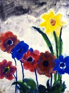 Summer Flowers by Emil Nolde (1867-1965), German-Danish painter. He was one of the first Expressionists, a member of Die Brücke, and is considered to be one of the great oil painting and watercolor painters of the 20th century. He is known for his vigorous brushwork and expressive choice of colors. Golden yellows and deep reds appear frequently in his work. His watercolors include vivid, brooding storm-scapes and brilliant florals (wiki) - (lonequixote)