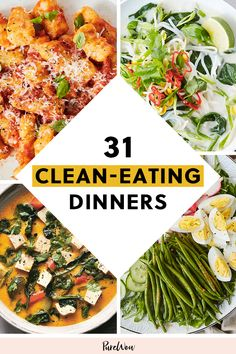 31 Clean-Eating Dinners (That Taste Dirty) to Eat Every Night in January purewow recipe cooking dinner winter food healthy easy 22306960642548611 Clean Eating Recipes For Dinner, Clean Eating Meal Plan, Clean Eating Breakfast, Healthy Breakfast Recipes, Easy Healthy Recipes, Clean Eating Snacks, Healthy Cooking, Easy Dinner Recipes, Dinner Healthy