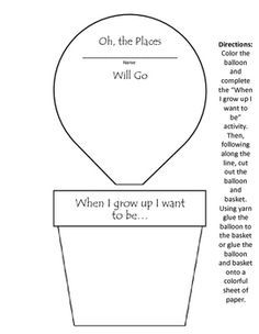 Hot air balloon to cut and color for Oh The Places You'll