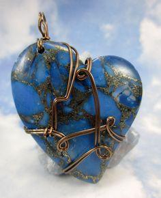 Cross Every Ocean-Lapis Lazuli Heart Stone Wire Wrapped Pendant