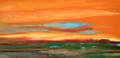 Contemporary Landscape Art ,Abstract Sunset Painting Blazing Sky Reflected VII by Colorado Contemporary Landscape Artist Kimberly Conrad -- Kimberly Conrad