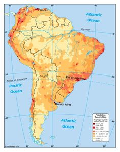Population Density of South America Map
