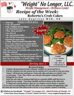 """""""Roberta's Crab Cakes"""" #IdealProtein #FriendlyForAllPhases"""