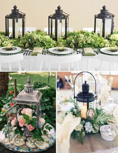 Lanterns make for great centrepieces Photos by The Knot (top), Adam Barnes Fine Art Photography (left) and Loverly (right).