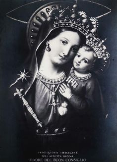Prodigiosa immagine dell'augusta Regina, Madre del Buon ConsiglioA vintage holy card of the miraculous image of Our Lady of Good Counsel venerated in the Basilica dell'Incoronata Madre del Buon Consiglio, Naples.