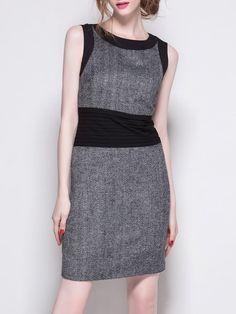 Shop Mini Dresses - Gray Crew Neck Color-block Sleeveless Mini Dress online. Discover unique designers fashion at StyleWe.com.