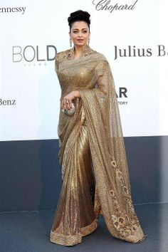 Gorgeous Aishwarya Rai Golden Cannes Film Festival Net Replica Saree.