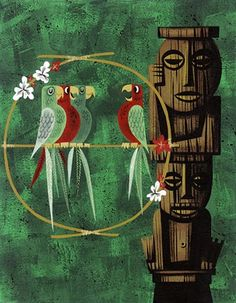 a painting of the Tiki Room poster. Walt Disney