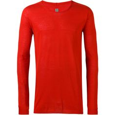 Rick Owens round neck top (£220) ❤ liked on Polyvore featuring men's fashion, men's clothing, men's shirts, red, men's round neck t shirts, mens long sleeve shirts, rick owens mens clothing, mens long sleeve cotton shirts and mens red shirt