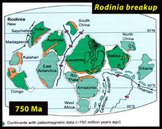 750 million years ago, most of the continents may have been clustered in the tropics following the breakup of the supercontinent Rodinia. Rodinia was Earth's main land mass from about 1.2 billion to 750 million years ago, surrounded by a single planetary ocean.
