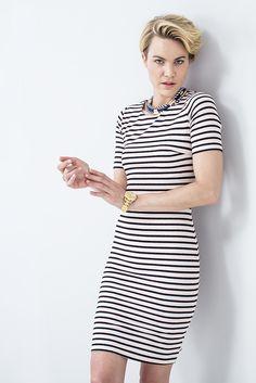 Blush and black striped bodycon dress. #miladys #stripes #dress