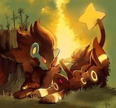 Luxray and Umbreon by purplekecleon on deviantART Two of my favorite Pokemon :) Pokemon Gif, Pokemon Fan Art, Luxray Pokemon, Play Pokemon, Pokemon Images, Pokemon Pictures, Pokemon Stuff, Pokemon Pokemon, Pokemon Fusion