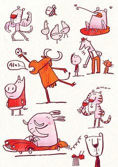 brush pen doodles, Fred Blunt