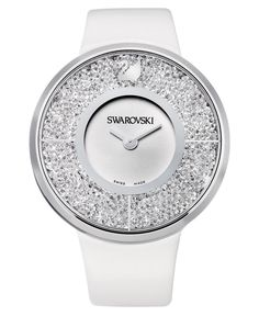 Swarovski Watch, Women's Swiss Crystalline White Calfskin Leather Strap; Crystal…