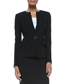 Jacket. Collarless. One-button front. Long sleeves. Angled flap details. Rayon/wool. Made in the USA.