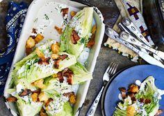 Iceberg Wedges with Grilled Bacon and Croutons