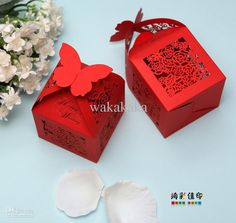 KAZIPA Laser Cut Wedding Gift Boxes, Butterfly Favor Boxes, Wedding Candy Boxes for Wedding Favors Bridal Shower Decoration Birthday Party Favors Baby Shower(Red) Wedding Favors And Gifts, Wedding Cake Boxes, Chocolate Wedding Favors, Vintage Wedding Favors, Wedding Ideas, Party Favours, Red Wedding, Wedding Inspiration, How To Make Wedding Cake
