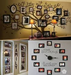 great wall decoration of family pictures! Photowall Ideas, Display Family Photos, Family Pics, Display Pictures, Displaying Family Pictures, Family Posing, Diy Casa, Family Tree Wall, Family Trees