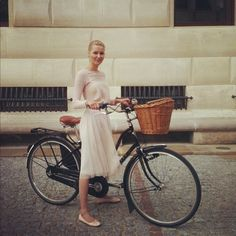 . Light and airy spring fashion inspiration, accessorize with a bike.